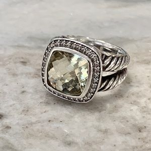 "David Yurman Jewelry - David Yurman ""Albion"" diamond and prasiolite ring"